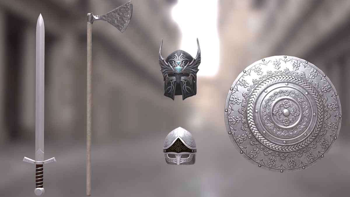 Weapons and armor pack - Model 3D Download For Free
