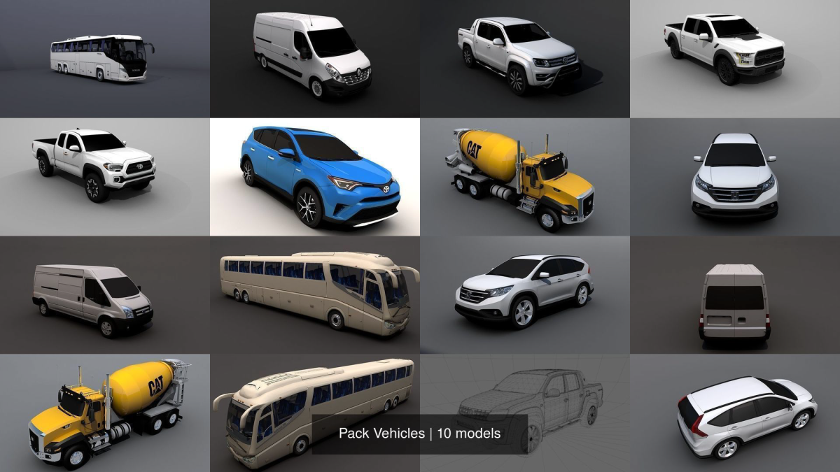 Pack Vehicles 3D Model Collection - Model 3D Download For Free