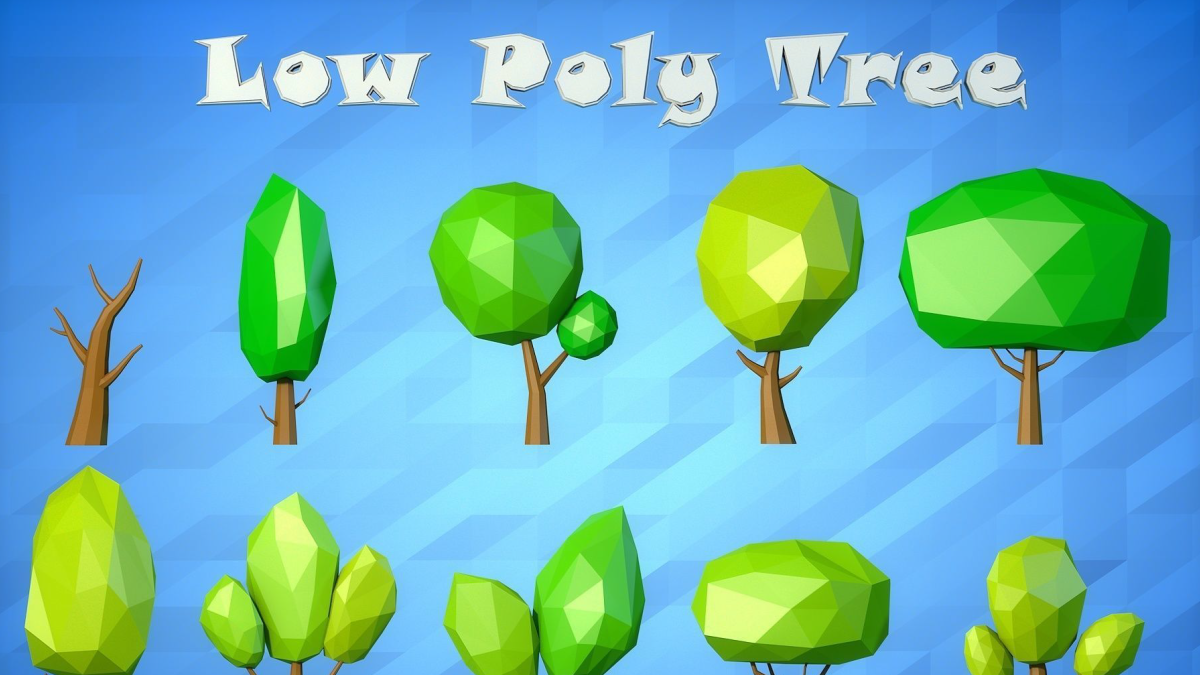 Low Poly Cartoon Tree Pack VR / AR / low-poly 3d model - Model 3D Download For Free