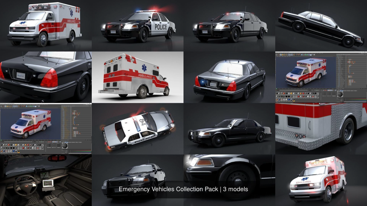 Emergency Vehicles Collection Pack - Model 3D Download For Free
