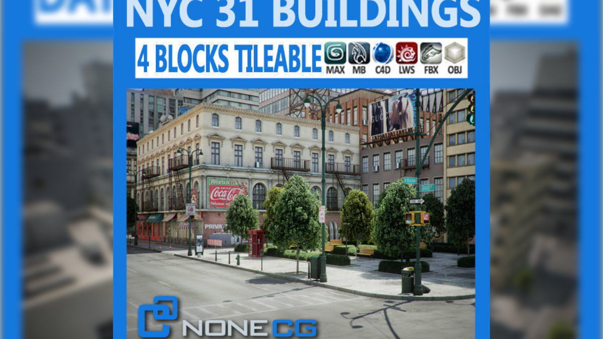 New York - 4 Blocks - 31 Buildings 3D model - Model 3D Download For Free
