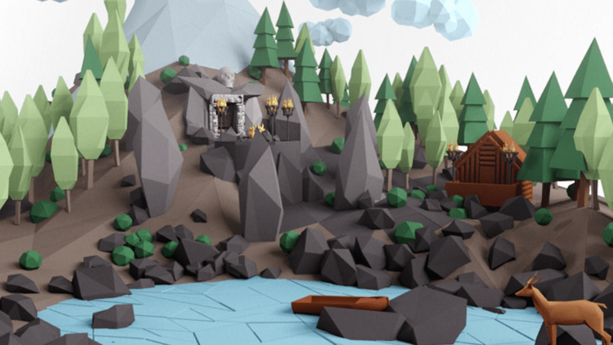 Low poly lanscape mountain hill tree lake and other items - Model 3D Download For Free