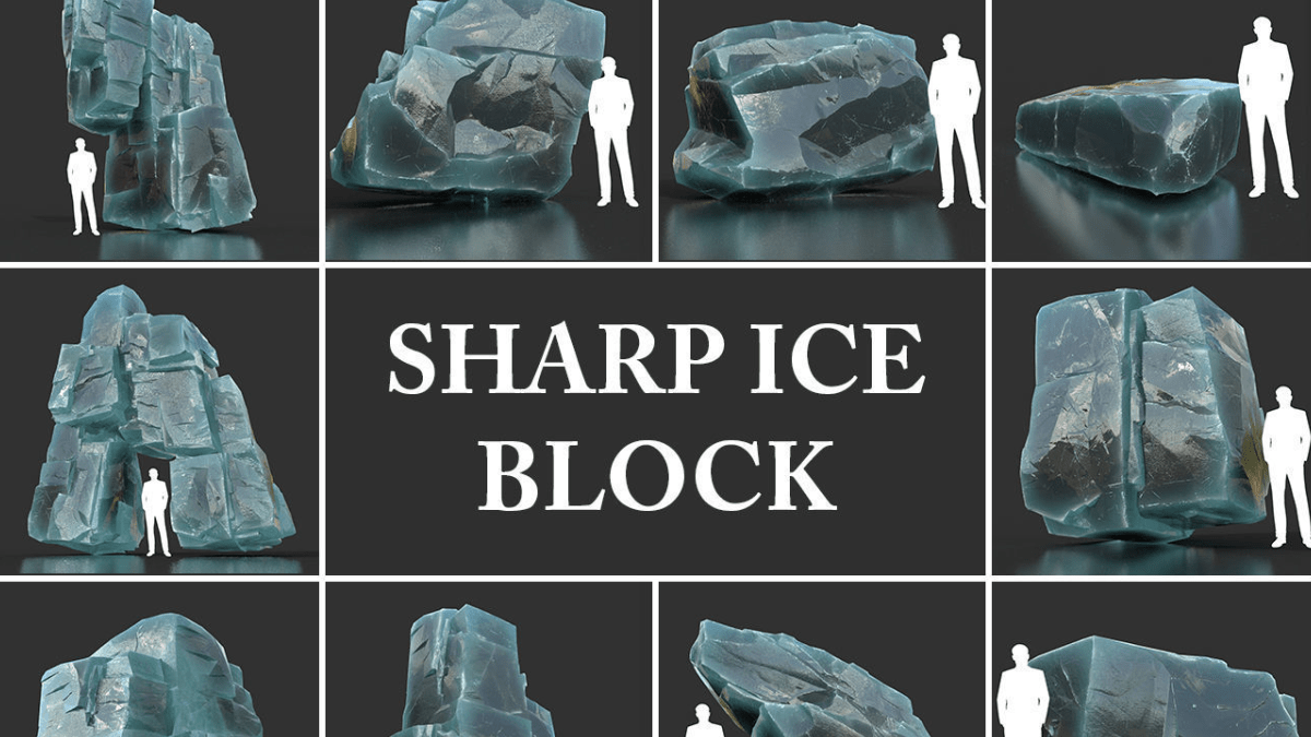 Low poly Ice Block Pack - Model 3D Download For Free