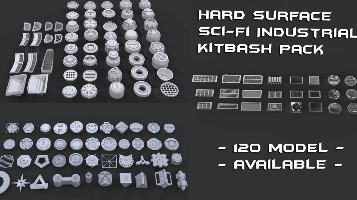 Hard Surface Sci-Fi Industrial KitBash 3 - Model 3D Download For Free