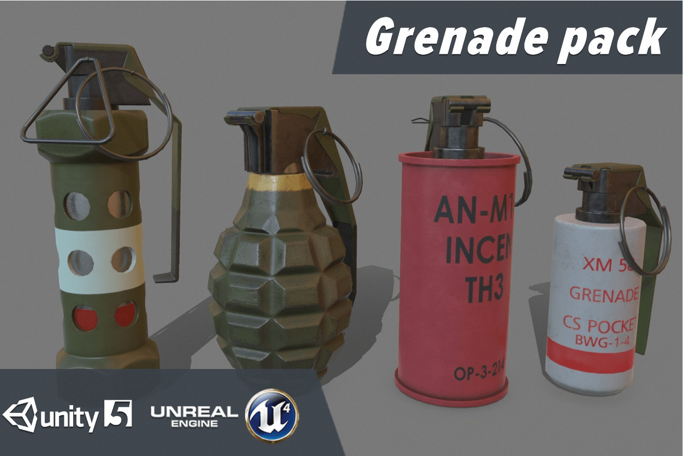 Grenade pack VR / AR / low-poly - Model 3D Download For Free