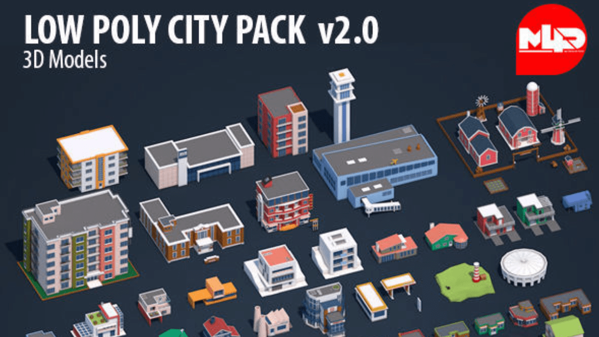 Low Poly City Pack 2 - Model 3D Download For Free