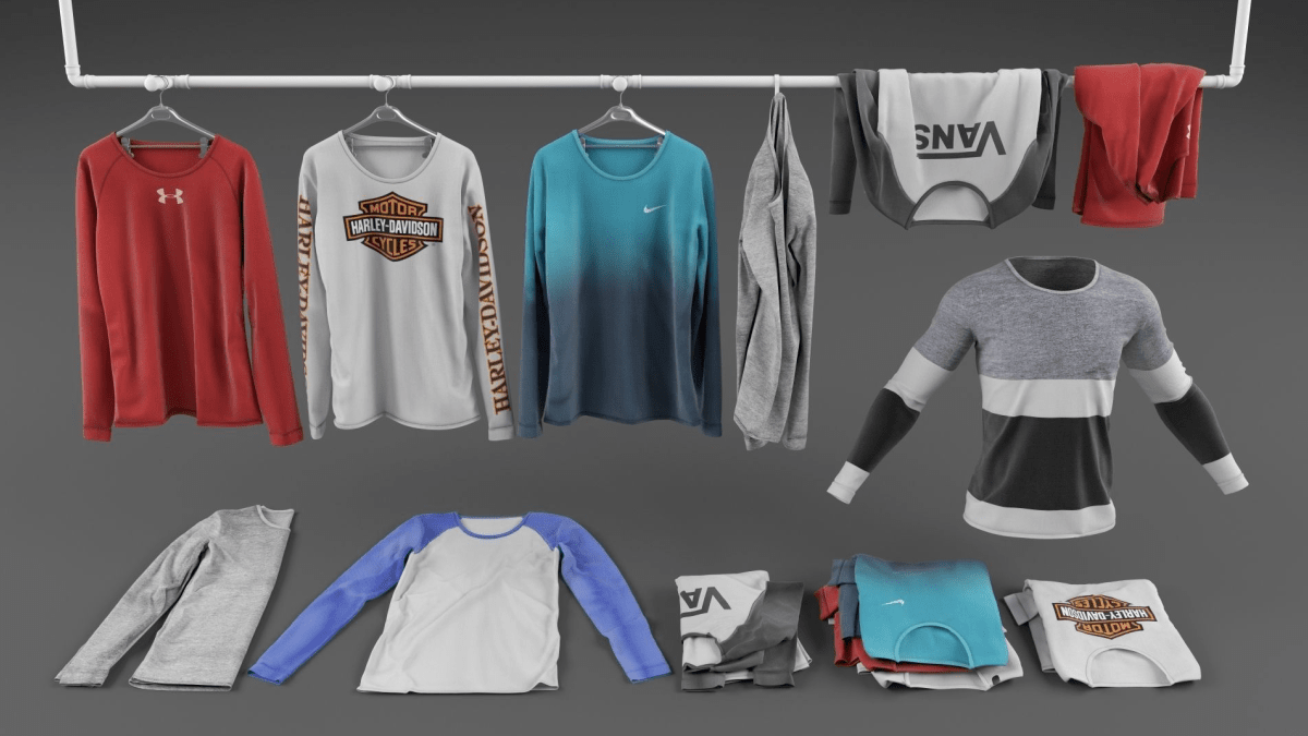 Long sleeve shirt collection - Model 3D Download For Free