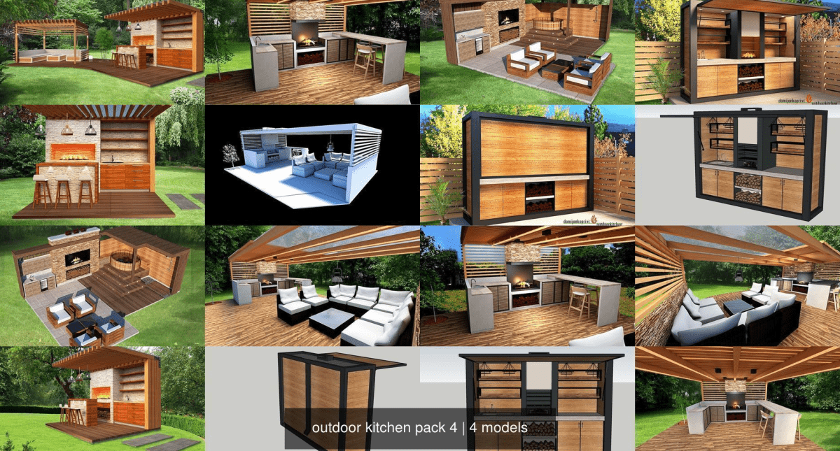 Outdoor Kitchen Pack 4 3D Model Collection - Model 3D Download For Free