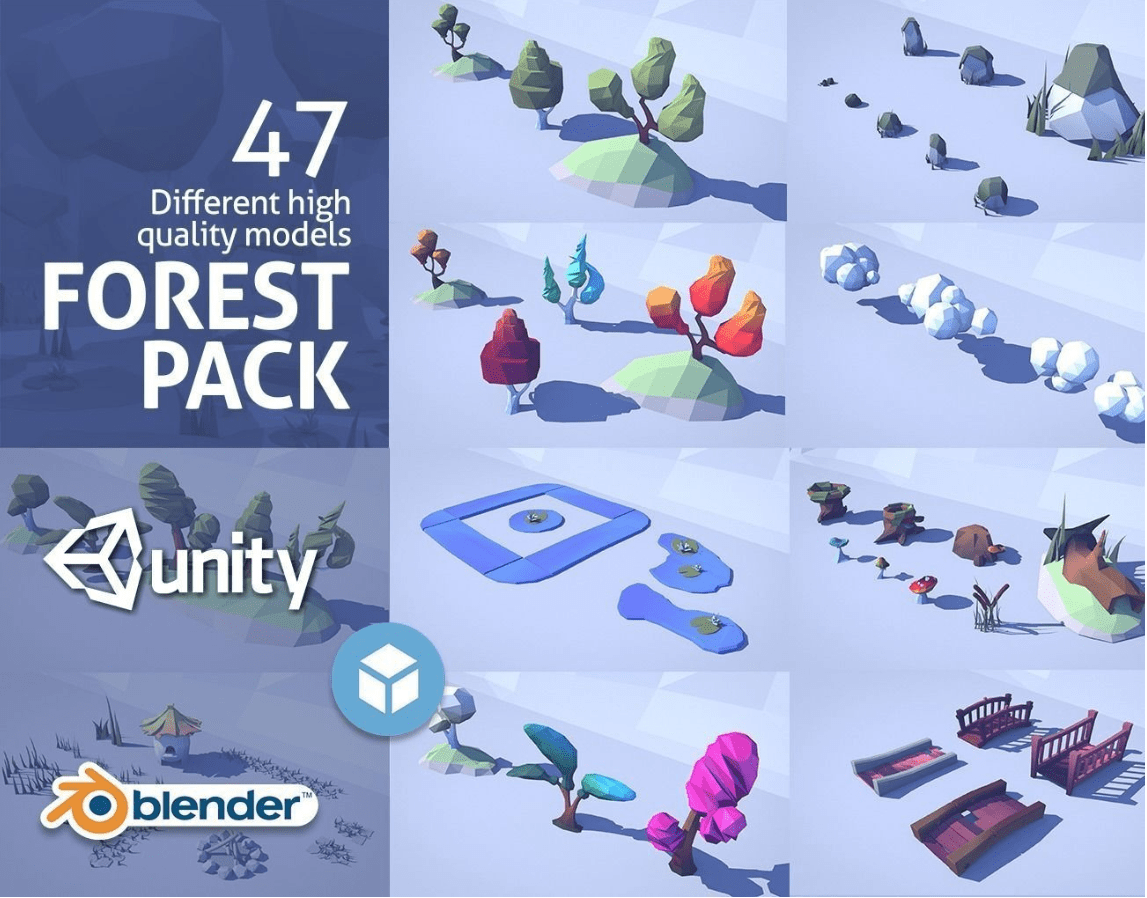 Cartoon Low Poly Forest Pack Low poly - Model 3D Download For Free