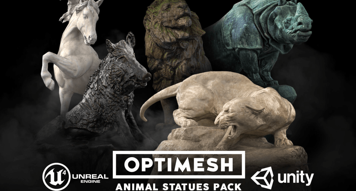 Animal Statues 3D - Model 3D Download For Free