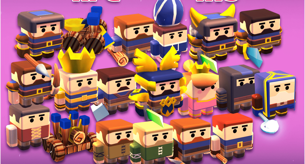 KUBIKOS - RPG - RTS 20 Animated Cube Mini Units - Model 3D Download For Free