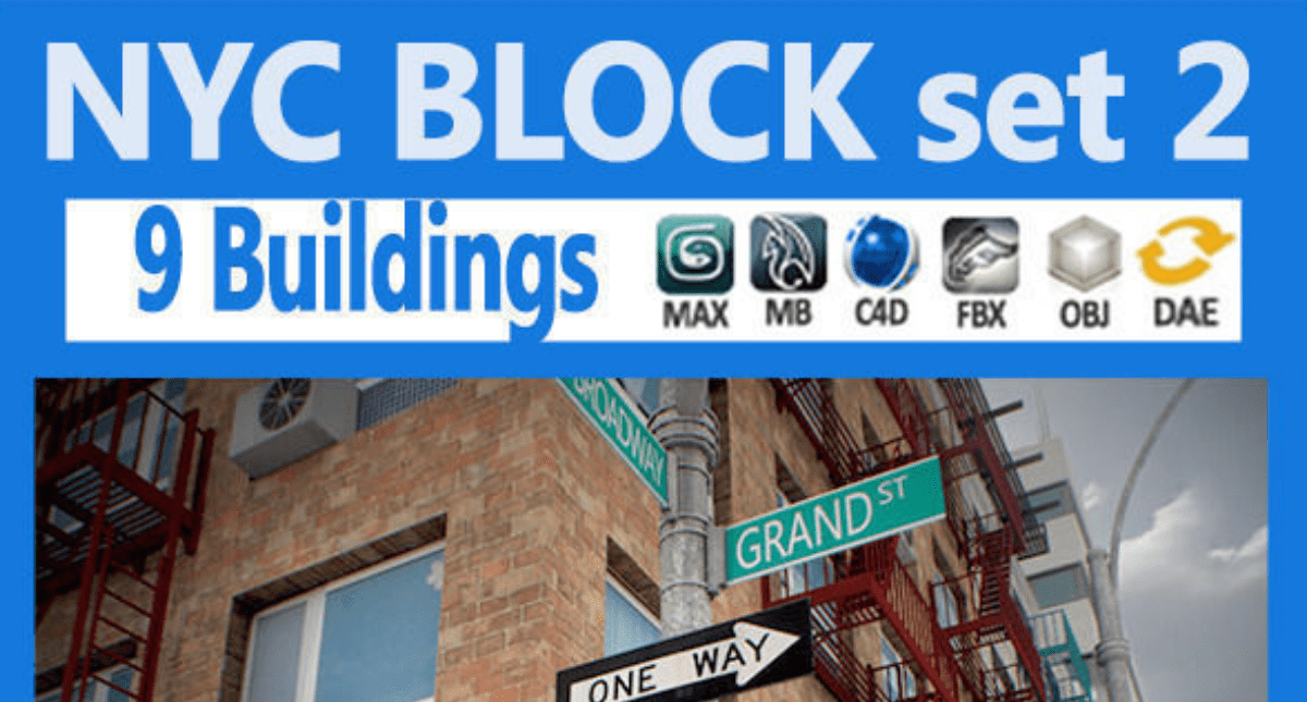 New York City Block Set 2 - Model 3D Download For Free