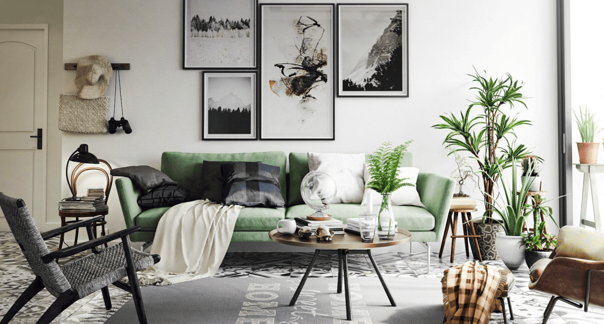 Vintage Living Room Interior Scene - Model 3D Download For Free