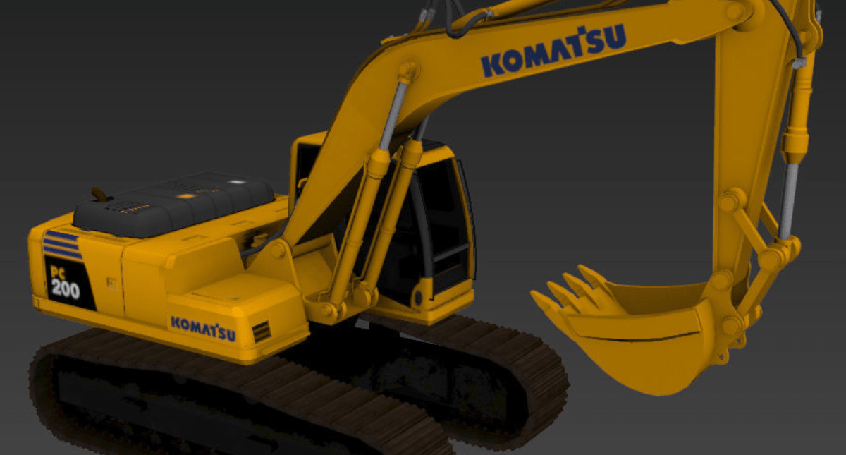 Komatsu PC200 excavator - Model 3D Download For Free