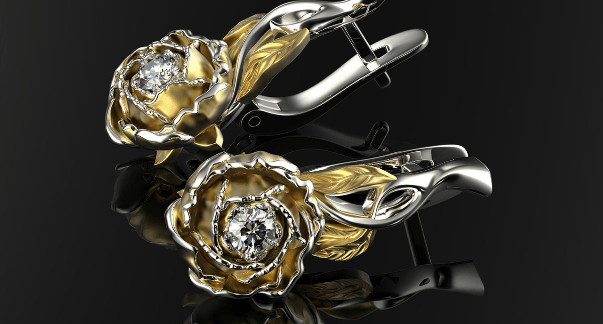 Peony Fashion Earrings 0202 - Model 3D Download For Free