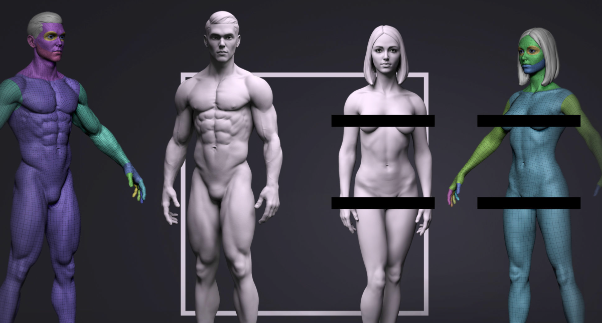 Basemesh Set - Adam and Eve 3D Model Collection - Model 3D Download For Free