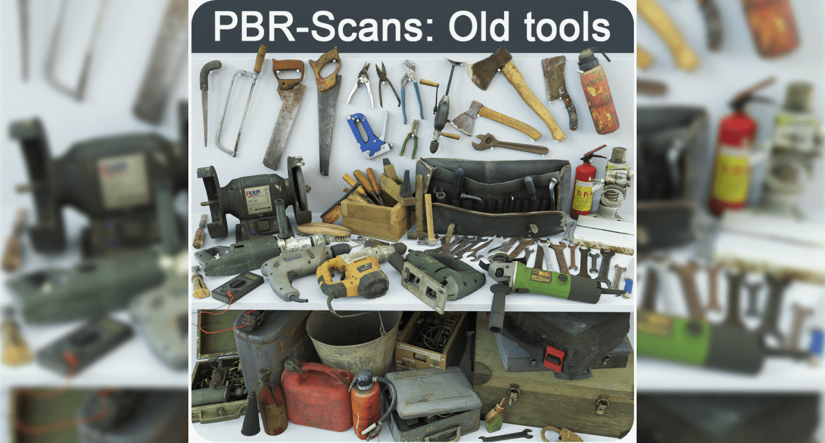 Collection Old Tools PBR 3D model - Model 3D Download For Free