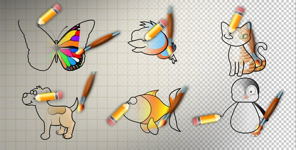 Videohive 2627570 - Animal Cartoon Paint - Motion Graphic - Footage