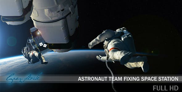 Videohive 10291332 - Astronaut Team Fixing Space Station - Motion Graphic - Footage