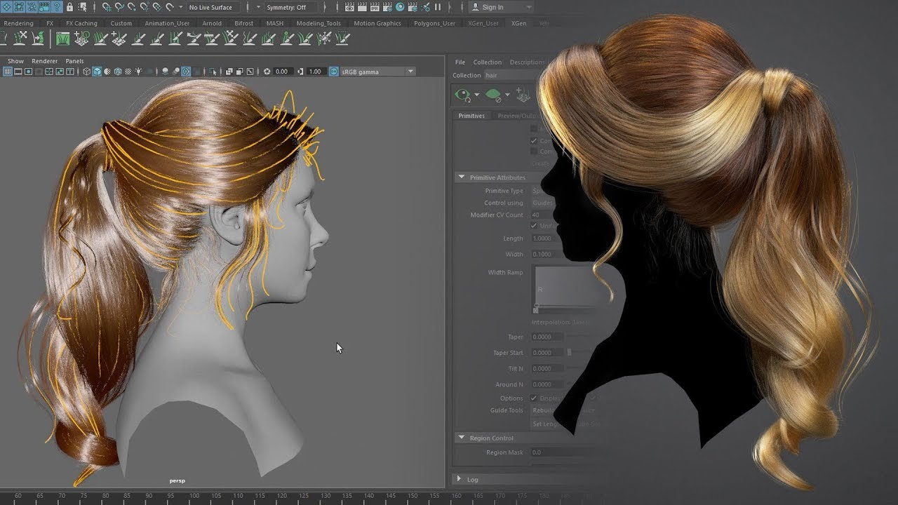 Creating a Female Hairstyle for Production with Maya XGen - Maya Tutorials