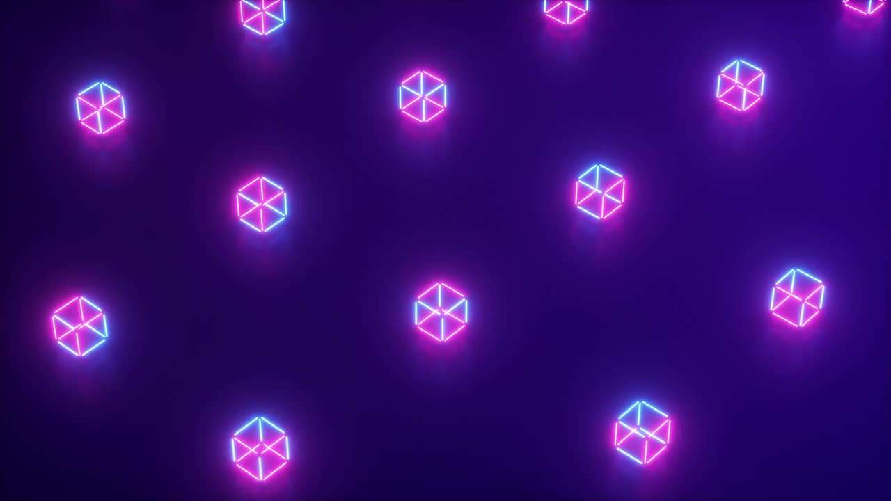 Rotating Neon Cube Pattern 241347 - Footage