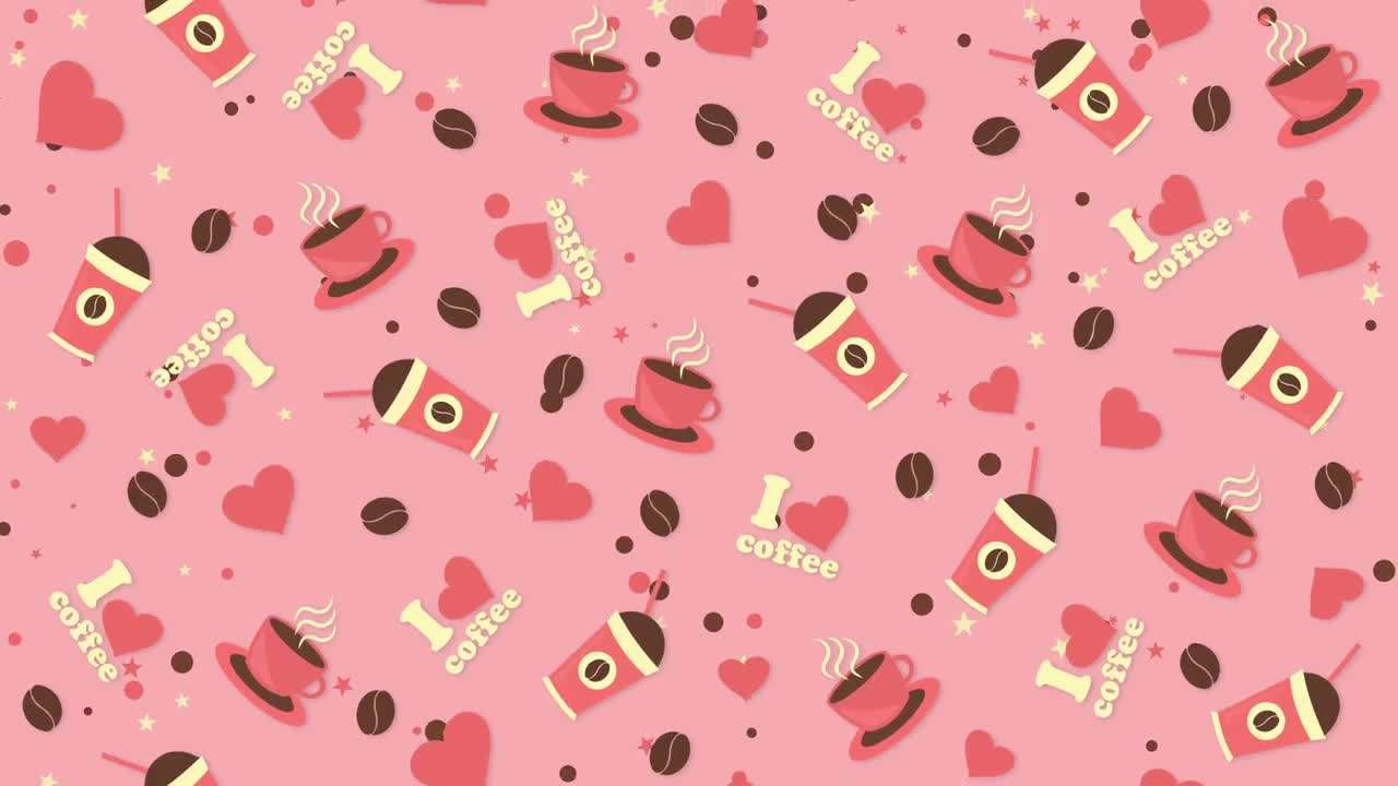 Coffee Background Pink Pattern 236052 - Footage