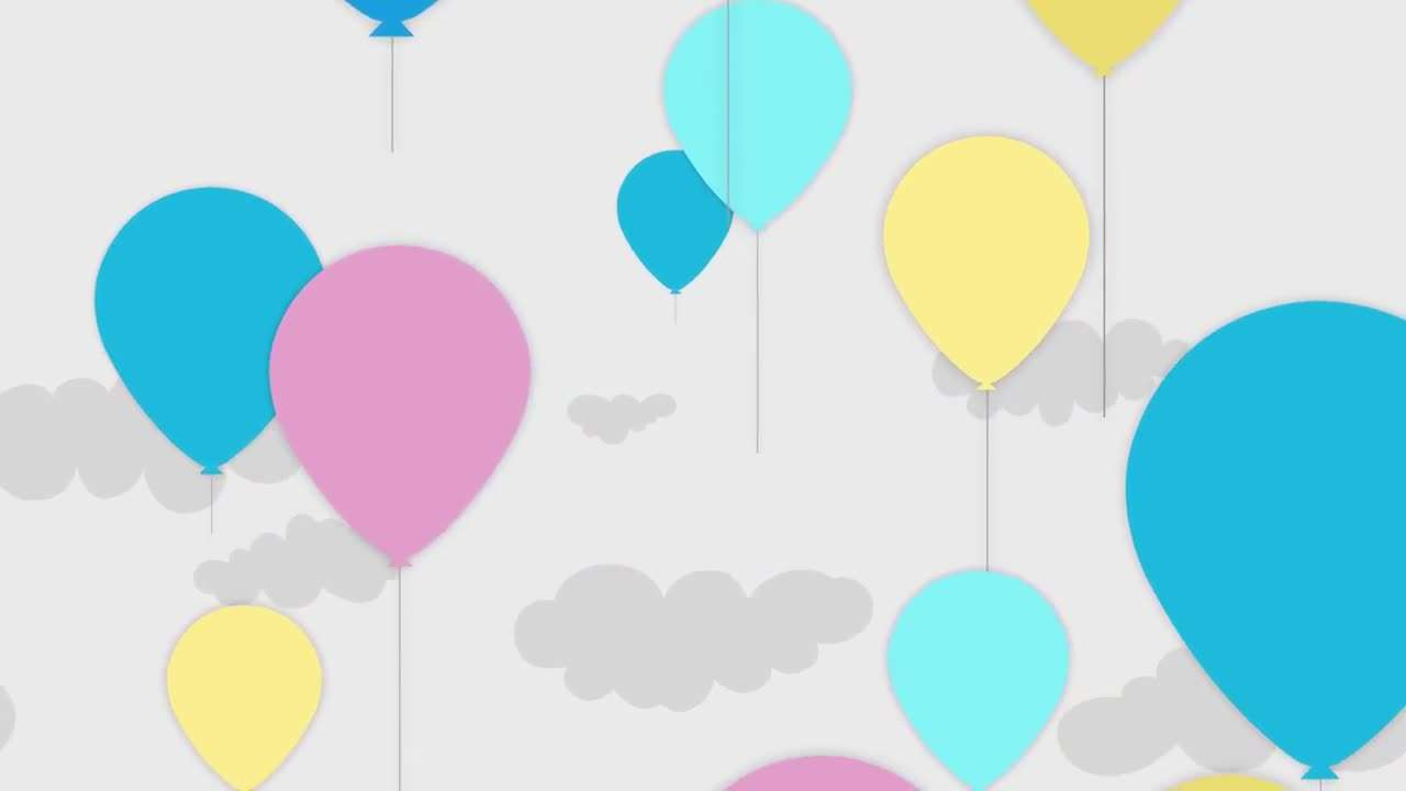 Pastel Animated Balloons Flying Up 205469 - Footage