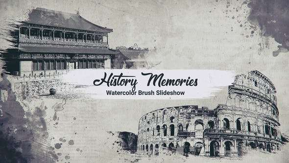 Videohive 23766732 - History Memories // Watercolor Brush Slideshow - After Effect Template