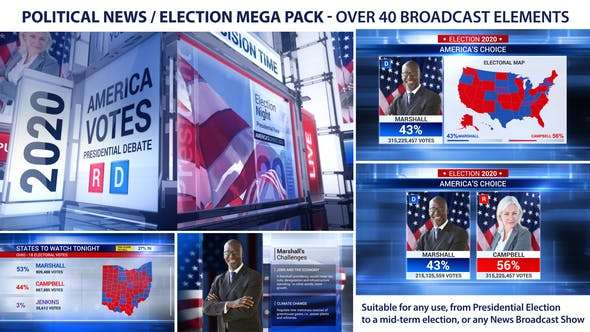 Videohive 22685799 - Broadcast - Political News Election Mega Pack - After Effect Template