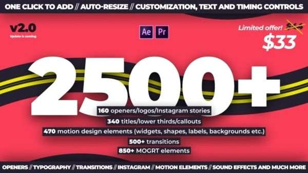 Videohive 24321544 - Trendy Motion Graphics Package - Template After Effect,Premiere Pro