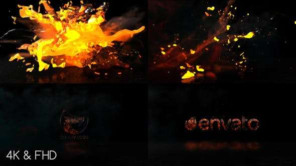 Videohive 22356177 - Fire Water Logo - After Effect Template