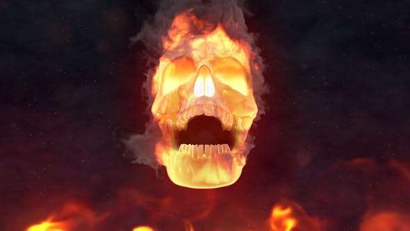 Videohive 24509656 - Fire Skull Logo Reveal - After Effect Template