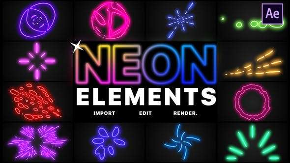 Videohive 24569896 - Neon Elements | After Effects - After Effect Template
