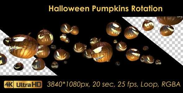 Videohive 20656504 - Halloween Pumpkins Rotation - Footage