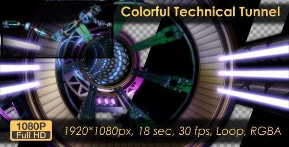 Videohive 21131228 - Colorful Technical Tunnel - Footage