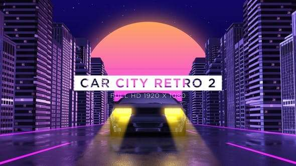 Videohive 24593405 - Car City Retro 2 Vj Loops Background - Footage