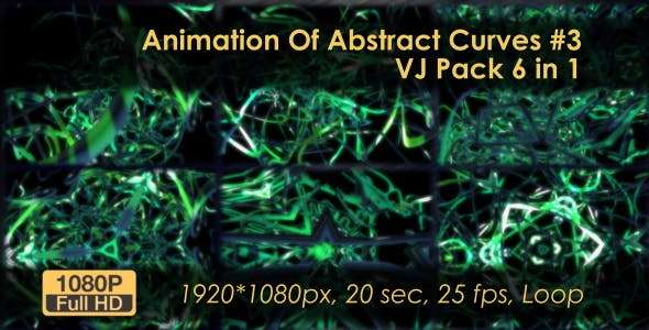 Videohive 20817089 - Animation VJ Pack Of Abstract Curves - Footage