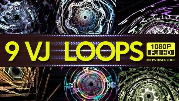 Videohive 23138181 - Futuristic Time Tunnels VJ Loops 9 In 1 - Footage