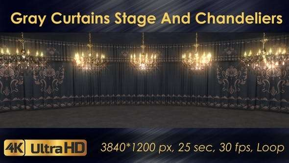 Videohive 23185045 - Gray Curtains Stage With Chandeliers - Footage
