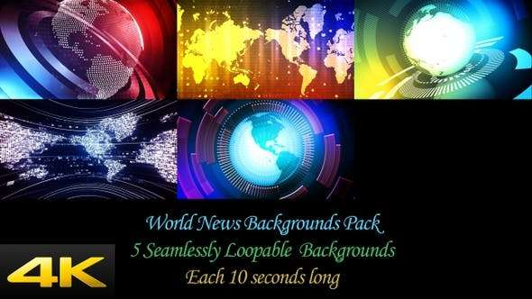 Videohive 24624378 - World News Backgrounds Pack - Footage