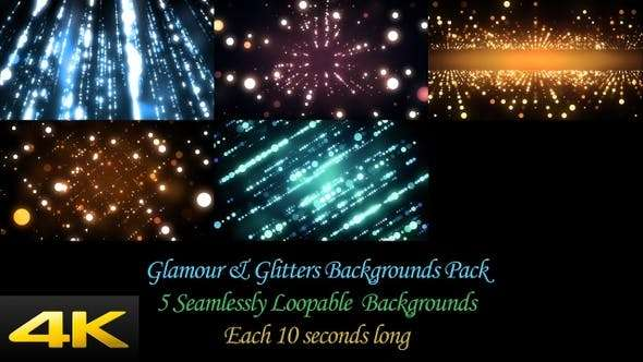 Videohive 24624376 - Glamour And Glitters Backgrounds Pack - Footage
