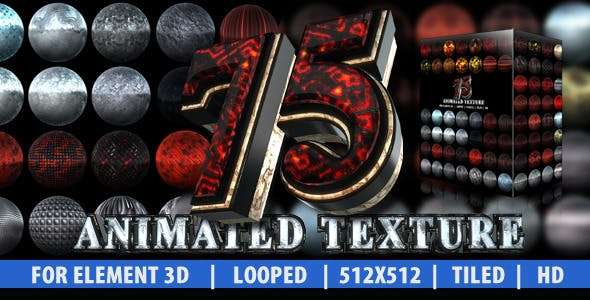 Videohive 6870041 - 75 Animated Texture - Element 3D Material