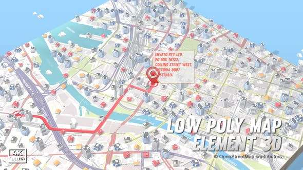 Videohive 19862081 - Lowpoly Map Element 3D - After Effect Template