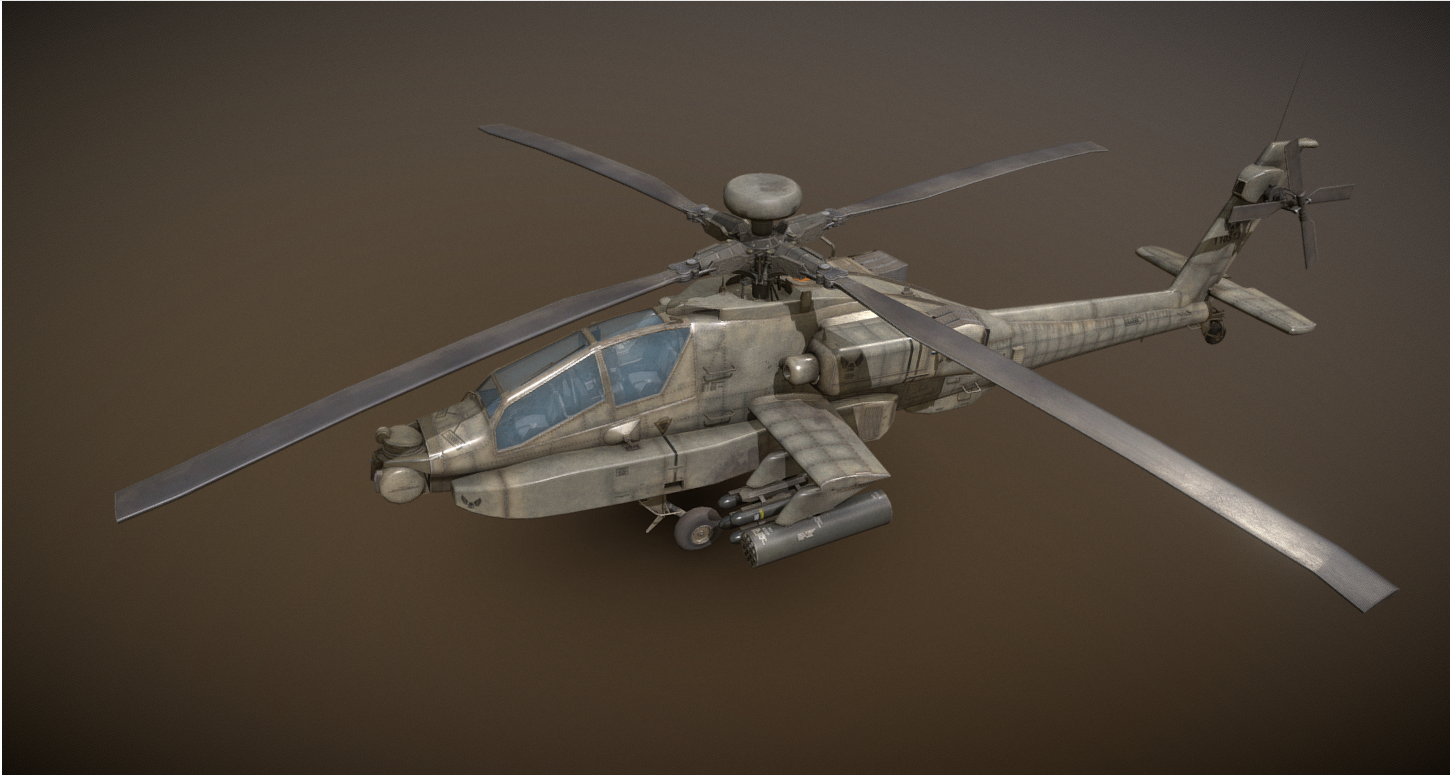 AH-64D Apache Longbow PBR Helicopter - Model 3D For Free