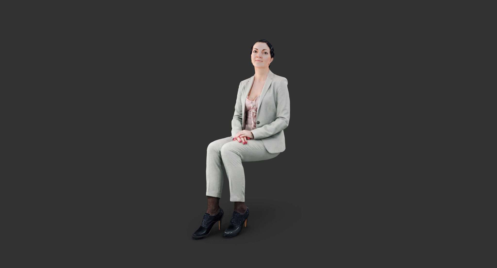 Casual Woman Sitting Scanned 3d model - Model 3D For Free