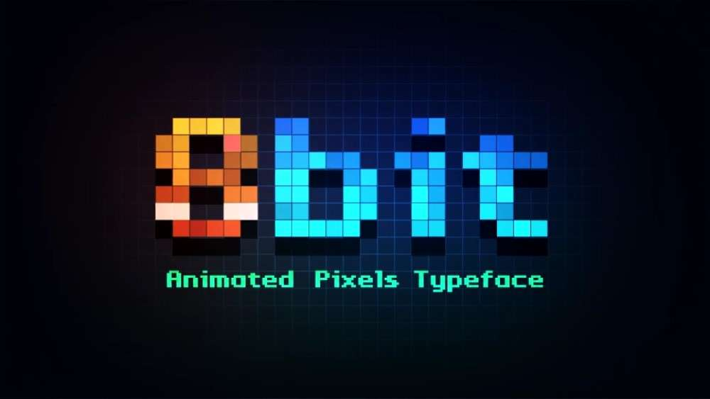 8bit - Animated Pixels Typeface - Videohive 23203402  - After Effect Template