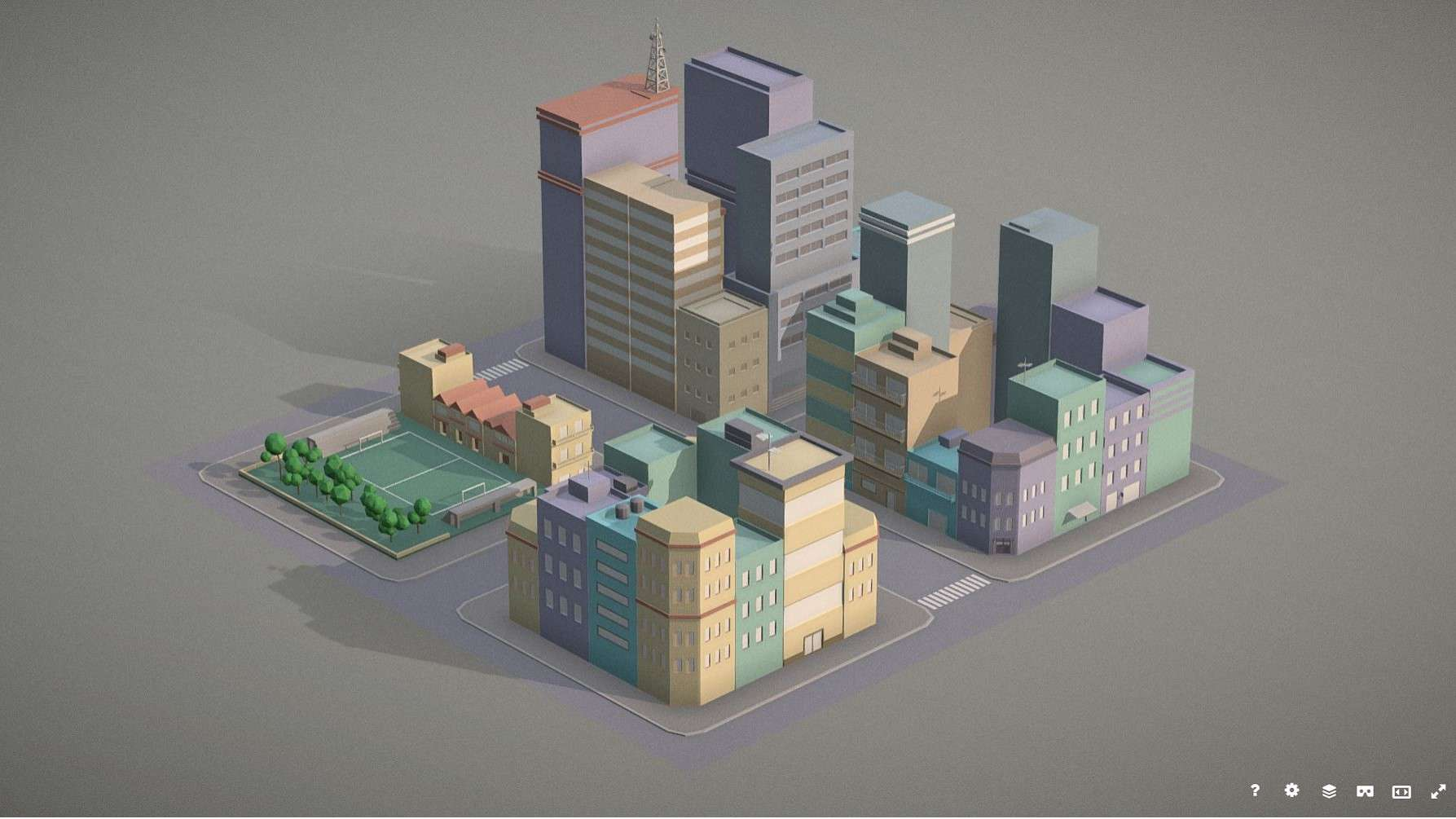 Lowpoly pack of 4 city blocks - Model 3D