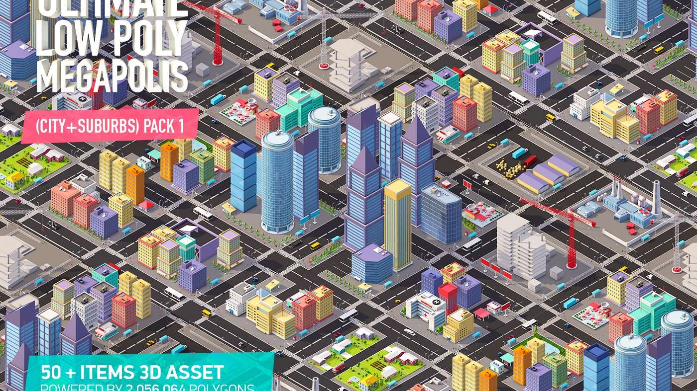Ultimate Low Poly Megapolis (City + Suburbs) Pack 1 - Model 3D
