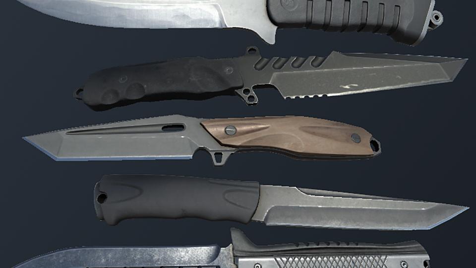 HQ PBR Combat knives pack - Model 3D