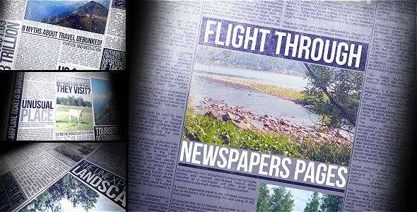 Videohive  19878211- Flight Through Newspapers Pages  - After Effect Template